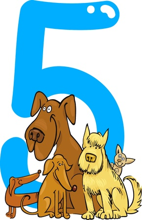 cartoon illustration with number five and dogs Vector