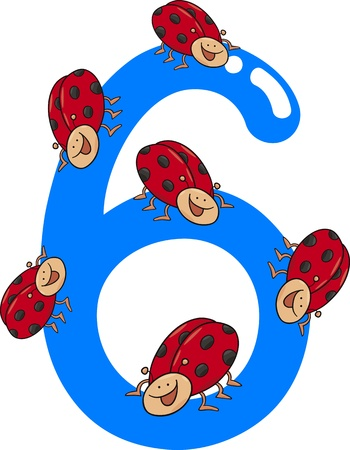number of animals: cartoon illustration with number six and ladybugs
