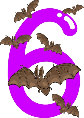 cartoon illustration with number six and bats Vector
