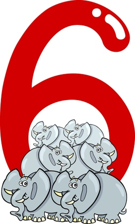 number six: cartoon illustration with number six and elephants