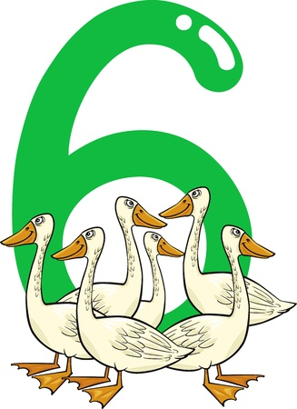 cartoon illustration with number six and geese Stock Vector - 13276698