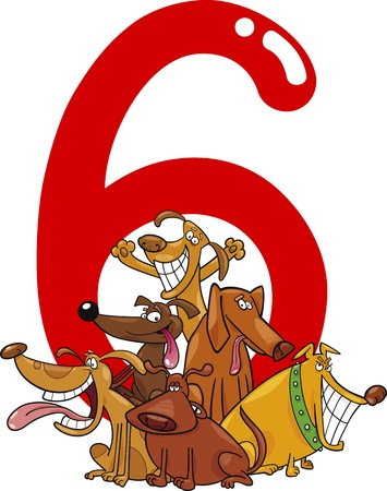 number six: cartoon illustration with number six and group of dogs