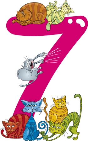 seven: cartoon illustration with number seven and cats