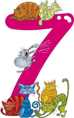 sept: illustration de bande dessin�e avec le num�ro sept et chats
