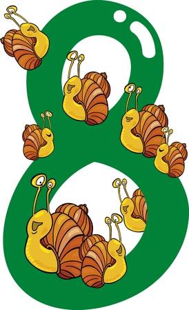 rekensommen: cartoon illustratie met nummer acht en slakken