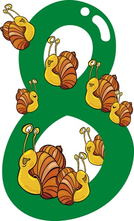 eight: cartoon illustration with number eight and snails