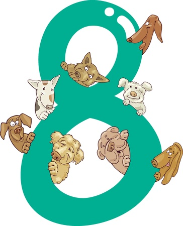 number of animals: cartoon illustration with number eight and dogs