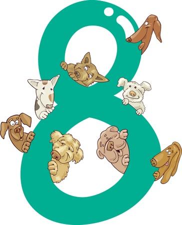 ilustración de dibujos animados con el número ocho y los perros