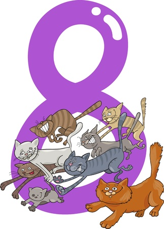 cartoon illustration with number eight and cats Stock Vector - 13276697