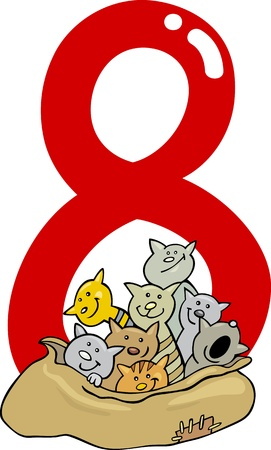 number eight: cartoon illustration with number eight and cats
