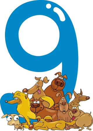 number of animals: cartoon illustration with number nine and dogs