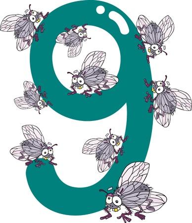 numero nueve: ilustración de dibujos animados con el número nueve y las moscas Vectores