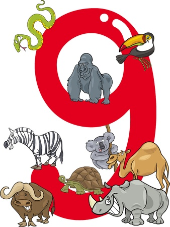 number nine: cartoon illustration with number nine and different animals