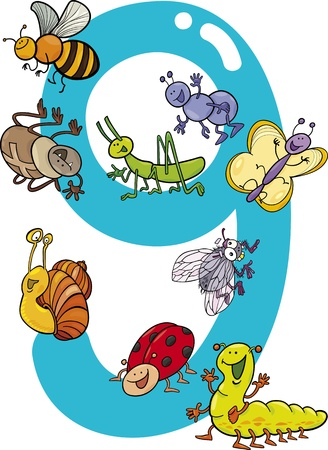 number nine: cartoon illustration with number nine and different insects Illustration