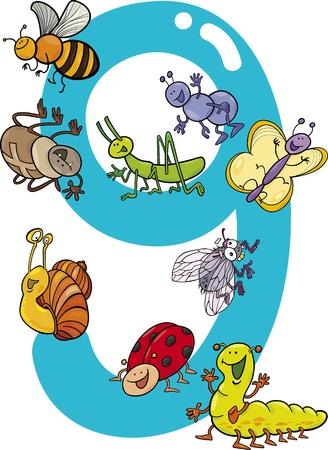 numero nueve: ilustración de dibujos animados con el número nueve y diferentes insectos