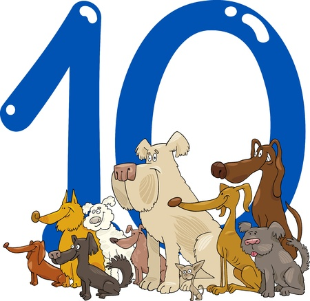 10 number: cartoon illustration with number ten and group of dogs