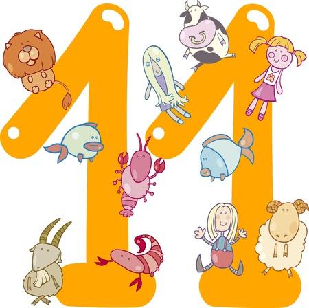 rekensommen: cartoon illustratie met nummer elf en speelgoed