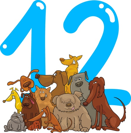twelve: cartoon illustration with number twelve and dogs