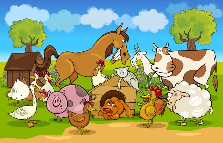 sheep farm: cartoon illustration of rural scene with farm animals group