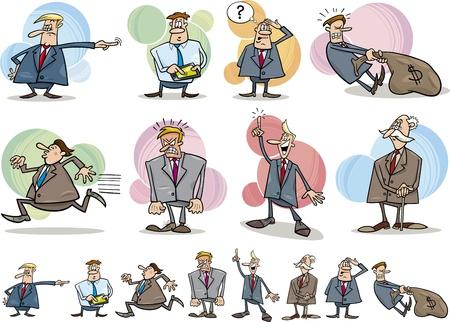 jefe enojado: ilustración de dibujos animados divertidos de hombres de negocios en diferentes situaciones