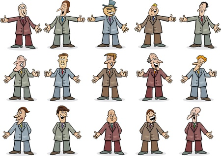 brokers: Cartoon illustration of happy businessmen collection set