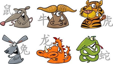 cartoon illustration of six chinese zodiac signs set