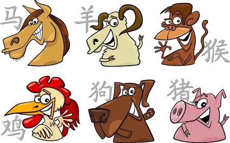 mono caricatura: ilustraci�n de dibujos animados de los seis signos del zodiaco chino establece Vectores