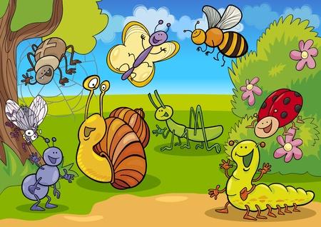 cartoon illustratie van grappige insecten op de weide Vector Illustratie