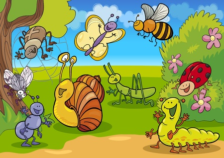 cartoon illustration of funny insects on the meadow Vector