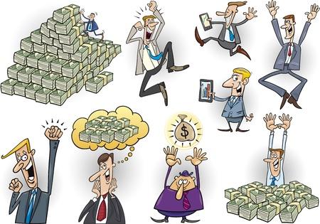cartoon illustration of happy successful businessmen set Illustration
