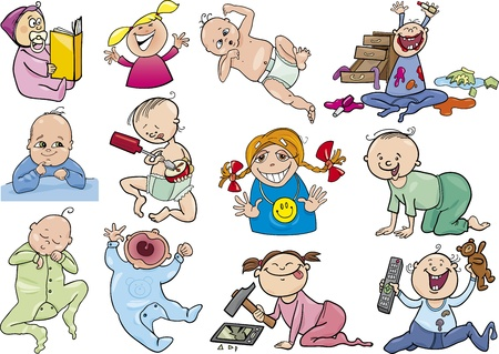 naughty: cartoon illustration of babies and children set