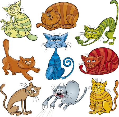 cartoon illustration of funny nine cats set Illustration