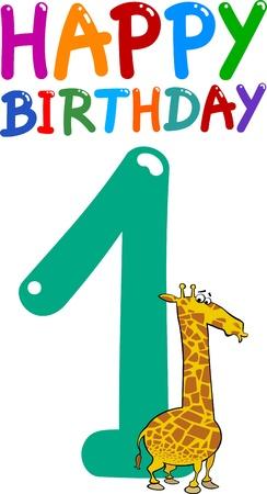 cartoon illustratie ontwerp voor de eerste verjaardag verjaardag Vector Illustratie