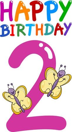 cartoon illustratie ontwerp voor de tweede verjaardag verjaardag
