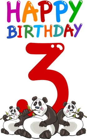 3rd: cartoon illustration design for third birthday anniversary