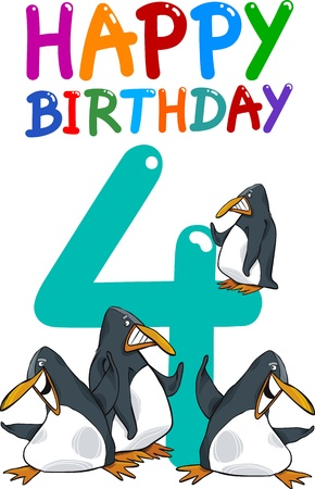 number of animals: cartoon illustration design for fourth birthday anniversary