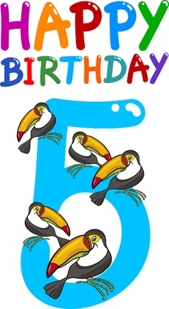number of animals: cartoon illustration design for fifth birthday anniversary Illustration