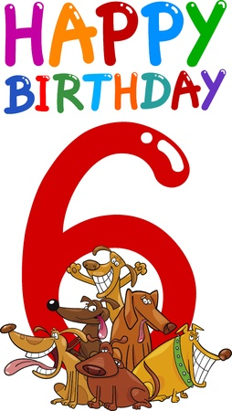 sixth birthday: cartoon illustration design for sixth birthday anniversary