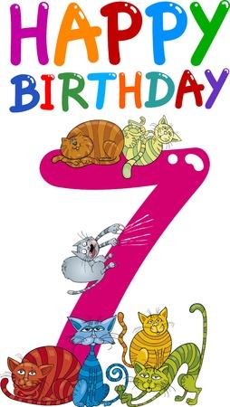 beeldverhaalillustratie ontwerp voor zevende verjaardag verjaardag