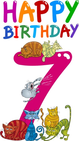 kids birthday party: cartoon illustration design for seventh birthday anniversary