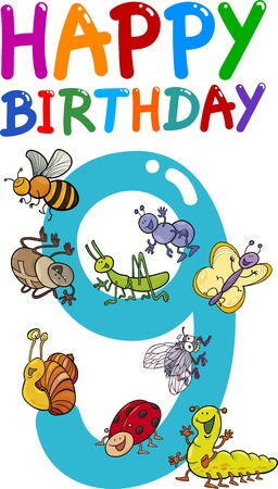 cartoon illustration design for ninth birthday anniversary Vector