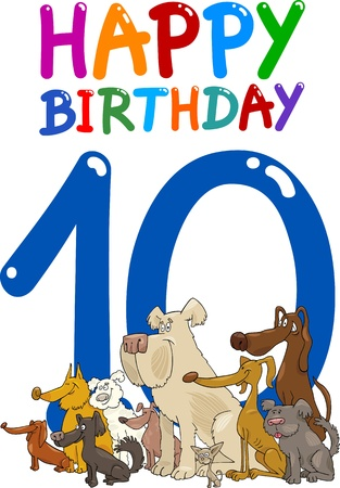 10: cartoon illustration design for tenth birthday anniversary Illustration