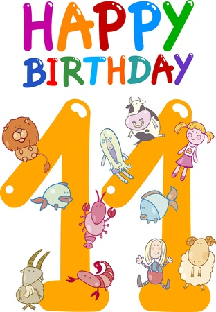 eleventh birthday: cartoon illustration design for eleventh birthday anniversary