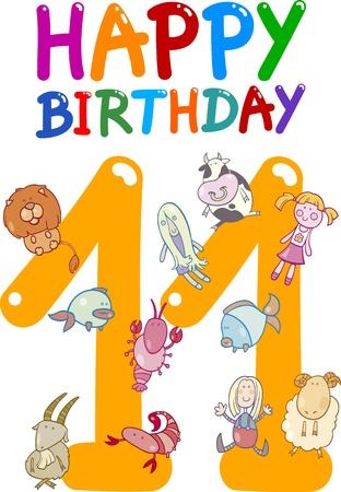 eleventh birthday: cartoon illustration design for eleventh birthday anniversary