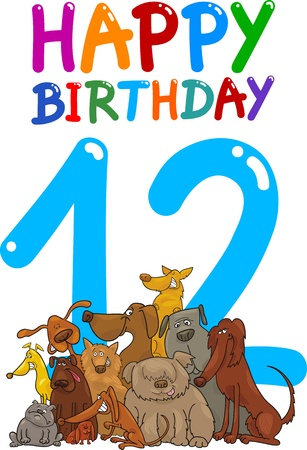 a 12: cartoon illustration design for twelfth birthday anniversary Illustration
