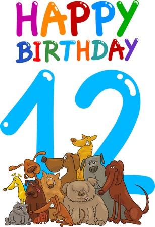 number 12: cartoon illustration design for twelfth birthday anniversary Illustration