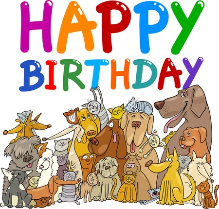 cute dogs: cartoon illustration design for happy birthday anniversary Illustration