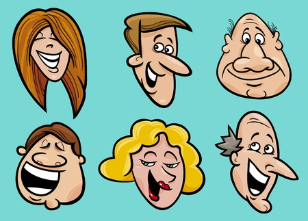 Cartoon illustration of happy people faces set Vector