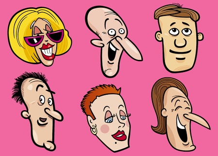 happy people faces: Cartoon illustration of happy people faces set Illustration