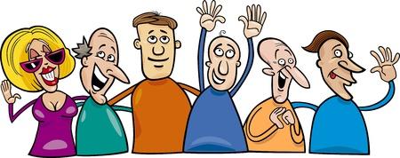 Cartoon illustration of hugging happy people group Vector